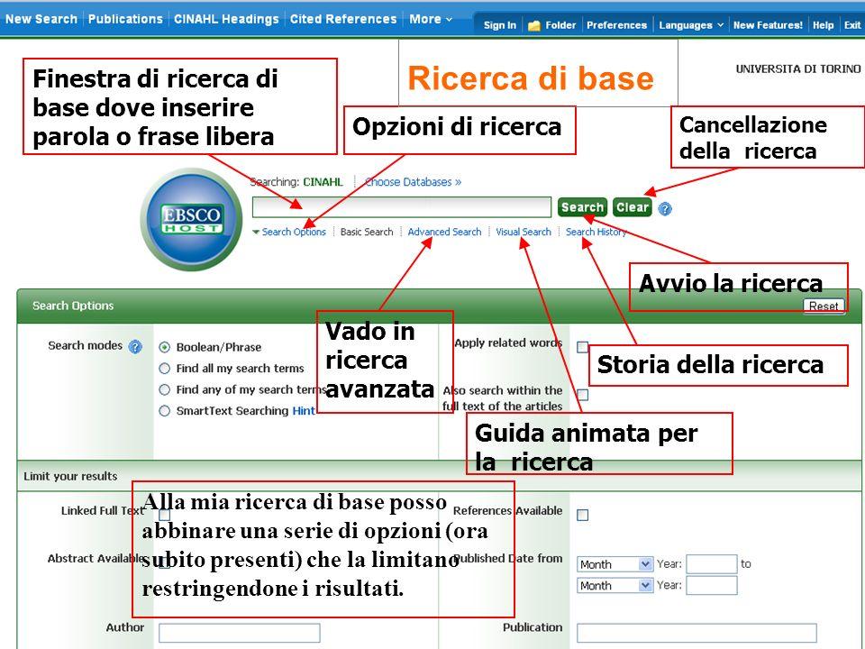 Finestra di ricerca di base dove inserire parola o frase libera Opzioni di ricerca Ricerca di base Vado in ricerca avanzata Guida animata per la ricer