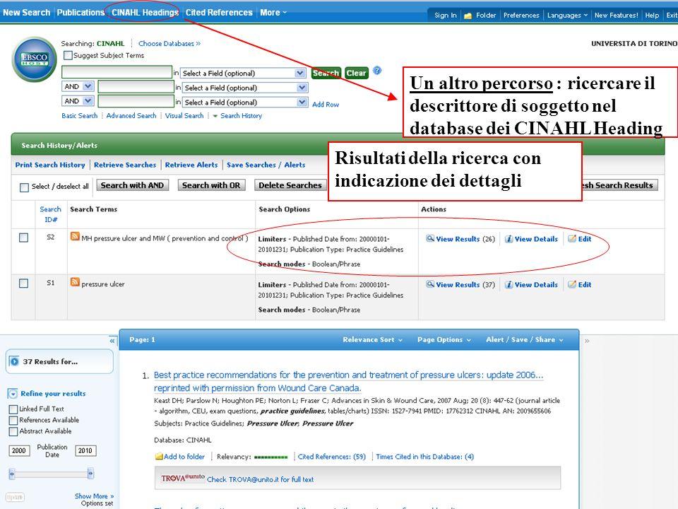 Un altro percorso : ricercare il descrittore di soggetto nel database dei CINAHL Heading Risultati della ricerca con indicazione dei dettagli