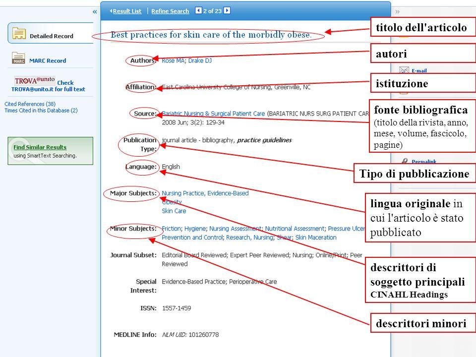 titolo dell'articolo autori istituzione fonte bibliografica (titolo della rivista, anno, mese, volume, fascicolo, pagine) Tipo di pubblicazione lingua