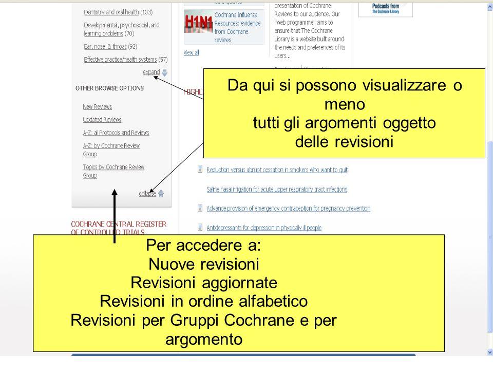 Da qui si possono visualizzare o meno tutti gli argomenti oggetto delle revisioni Per accedere a: Nuove revisioni Revisioni aggiornate Revisioni in or