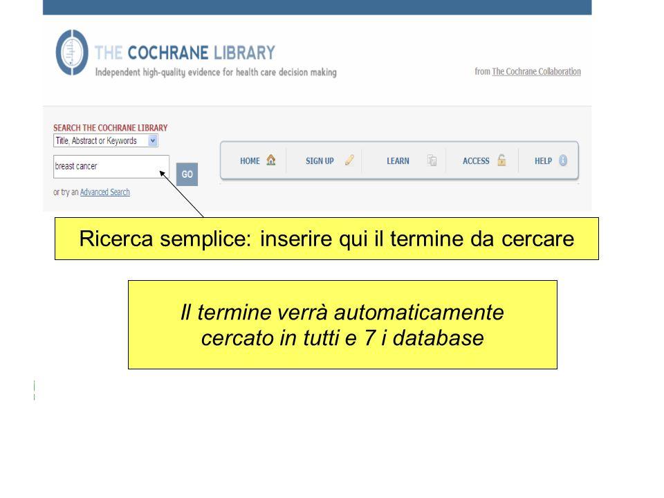 Ricerca semplice: inserire qui il termine da cercare Il termine verrà automaticamente cercato in tutti e 7 i database