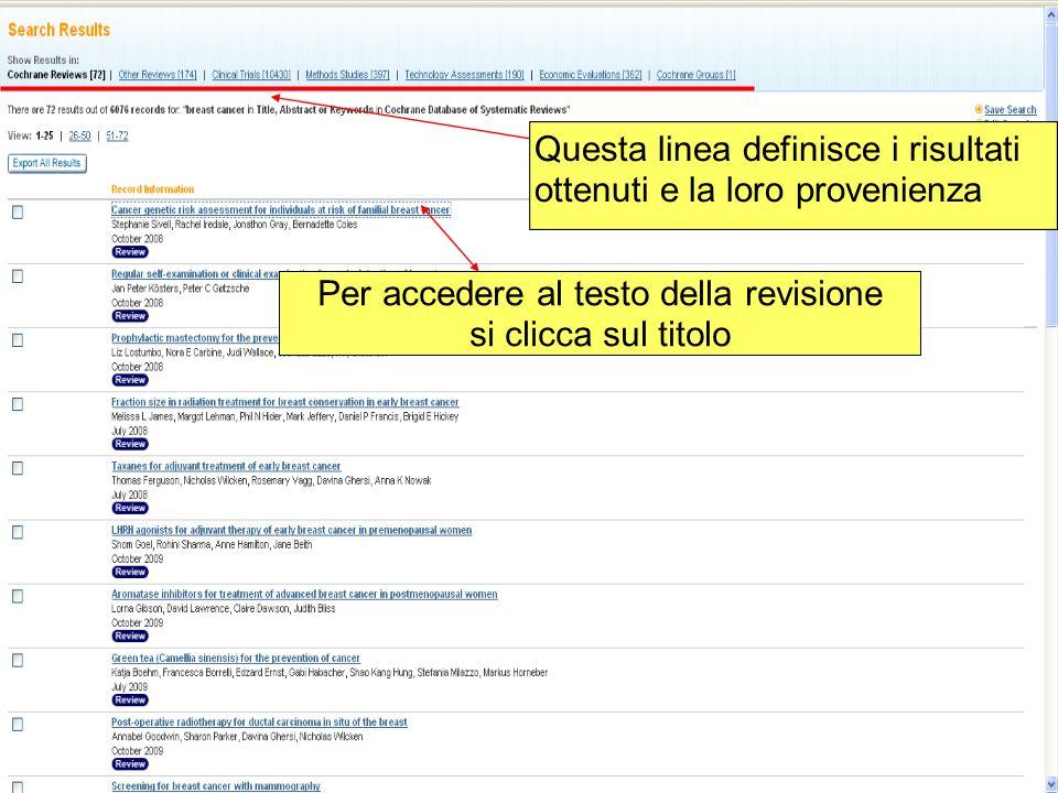 Per accedere al testo della revisione si clicca sul titolo Questa linea definisce i risultati ottenuti e la loro provenienza