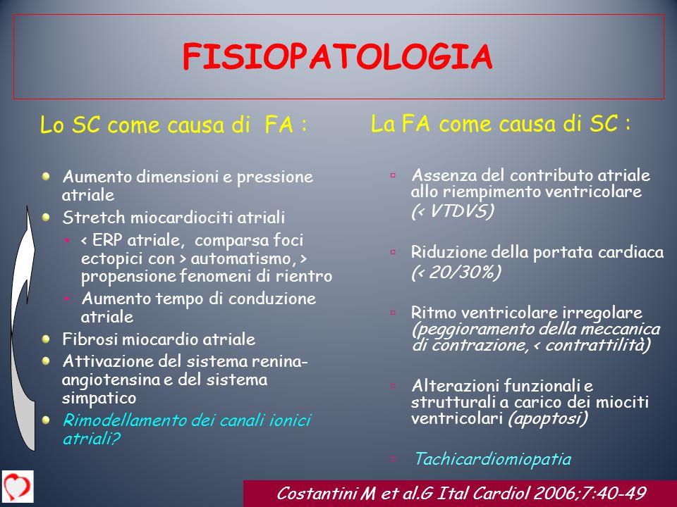 Lo SC come causa di FA : Aumento dimensioni e pressione atriale Stretch miocardiociti atriali automatismo, > propensione fenomeni di rientro Aumento t