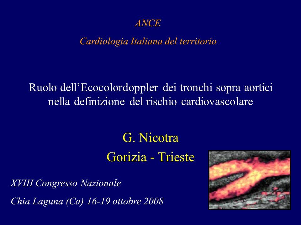 Ruolo dellEcocolordoppler dei tronchi sopra aortici nella definizione del rischio cardiovascolare G. Nicotra Gorizia - Trieste ANCE Cardiologia Italia