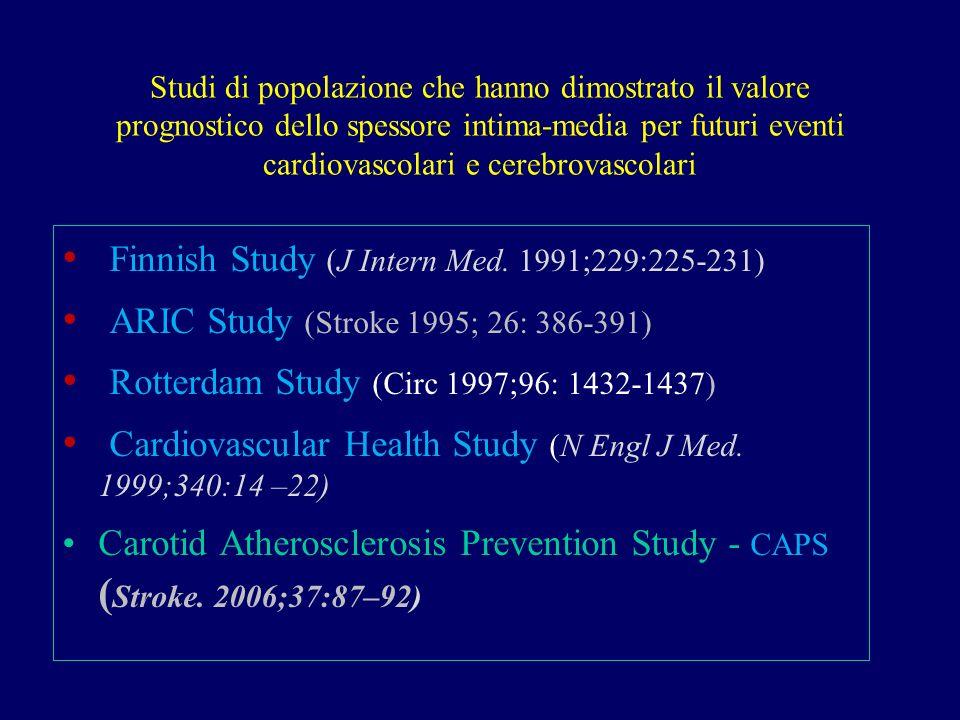 Studi di popolazione che hanno dimostrato il valore prognostico dello spessore intima-media per futuri eventi cardiovascolari e cerebrovascolari Finni