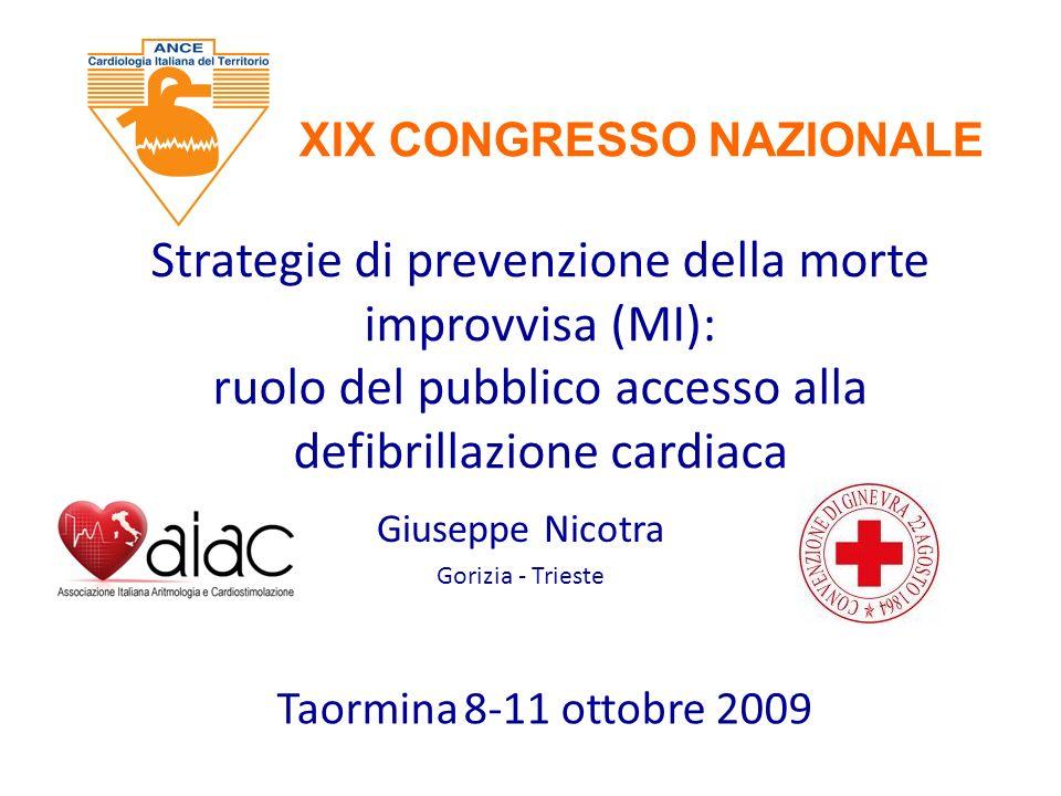 Strategie di prevenzione della morte improvvisa (MI): ruolo del pubblico accesso alla defibrillazione cardiaca Giuseppe Nicotra Gorizia - Trieste Taor