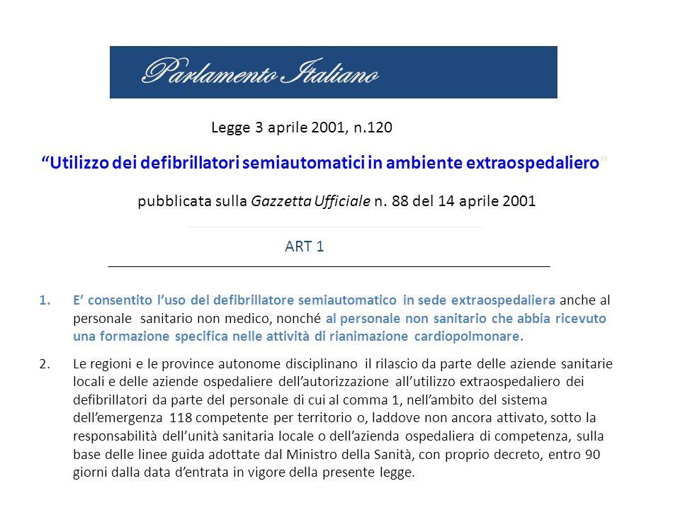 Parlamento Italiano Legge 3 aprile 2001, n.120 Utilizzo dei defibrillatori semiautomatici in ambiente extraospedaliero pubblicata sulla Gazzetta Uffic