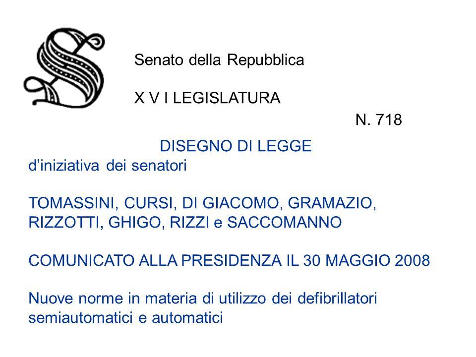 DISEGNO DI LEGGE diniziativa dei senatori TOMASSINI, CURSI, DI GIACOMO, GRAMAZIO, RIZZOTTI, GHIGO, RIZZI e SACCOMANNO COMUNICATO ALLA PRESIDENZA IL 30