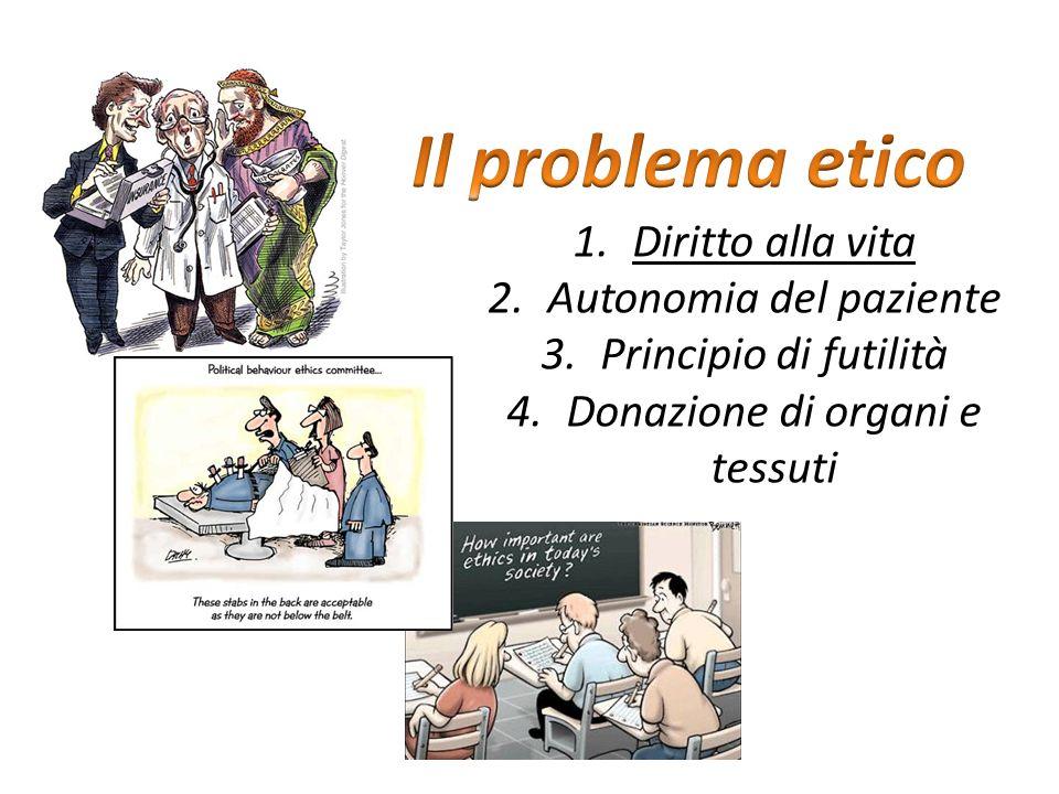 1.Diritto alla vita 2.Autonomia del paziente 3.Principio di futilità 4.Donazione di organi e tessuti