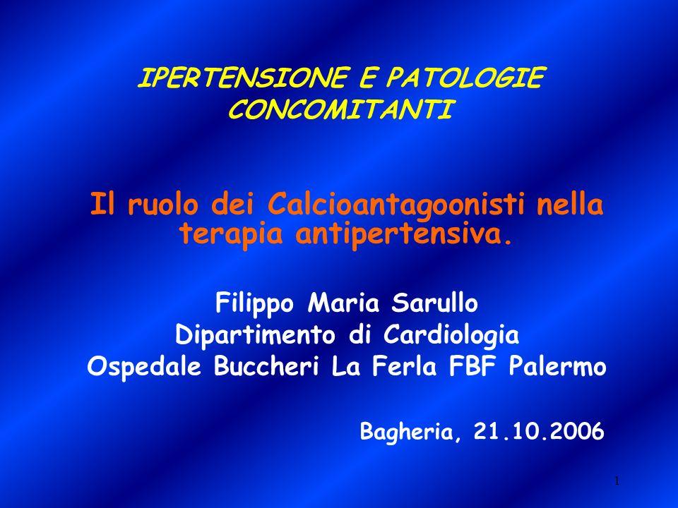1 IPERTENSIONE E PATOLOGIE CONCOMITANTI Il ruolo dei Calcioantagoonisti nella terapia antipertensiva. Filippo Maria Sarullo Dipartimento di Cardiologi
