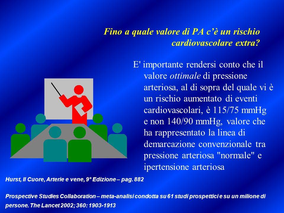 Fino a quale valore di PA cè un rischio cardiovascolare extra? E' importante rendersi conto che il valore ottimale di pressione arteriosa, al di sopra