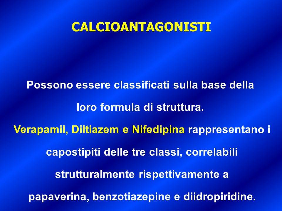 Possono essere classificati sulla base della loro formula di struttura. Verapamil, Diltiazem e Nifedipina rappresentano i capostipiti delle tre classi