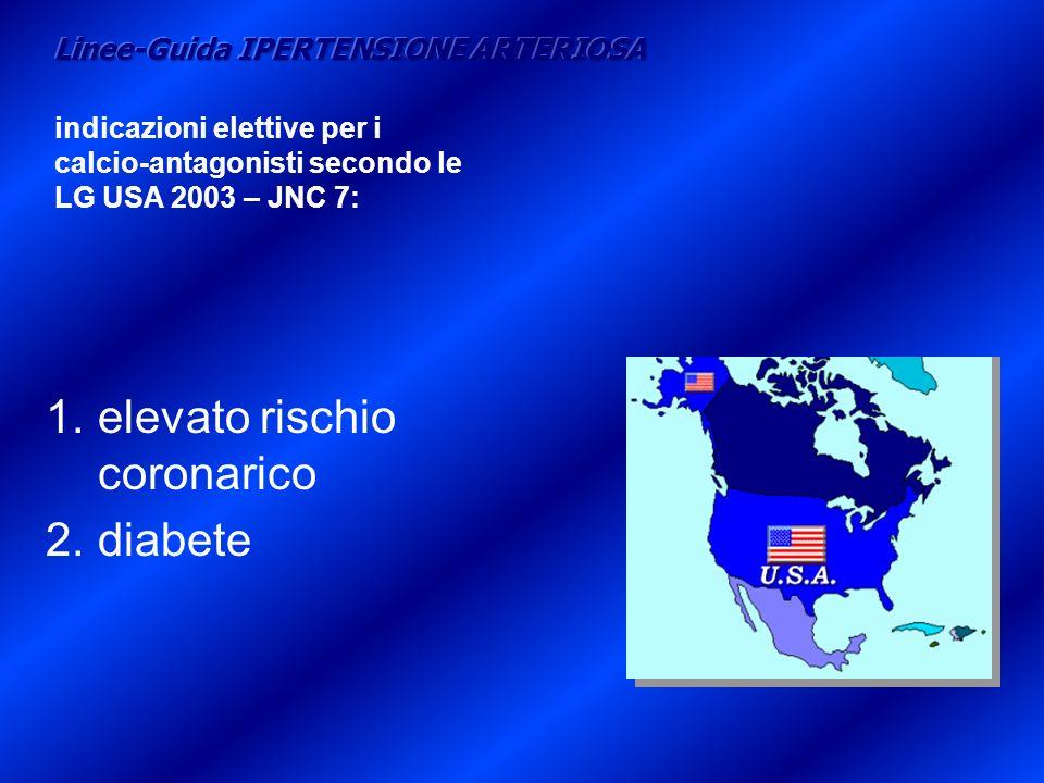 1.elevato rischio coronarico 2.diabete indicazioni elettive per i calcio-antagonisti secondo le LG USA 2003 – JNC 7: