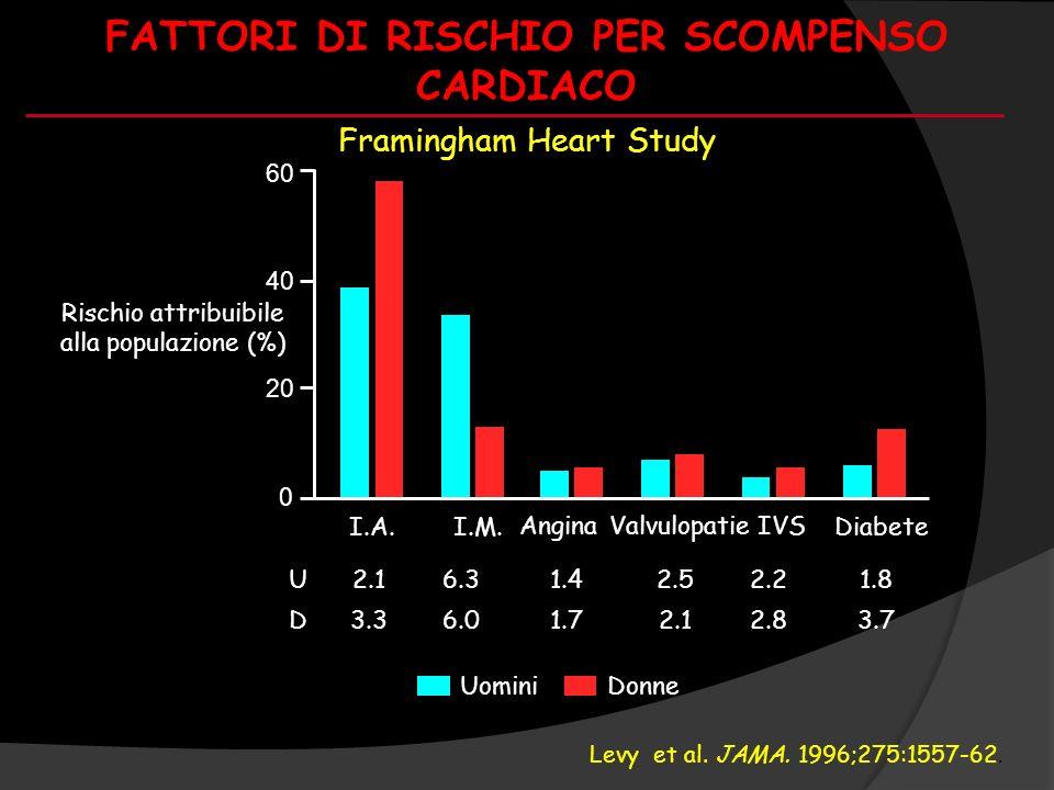 FATTORI DI RISCHIO PER SCOMPENSO CARDIACO 20 40 60 0 I.A. Rischio attribuibile alla populazione (%) I.M. AnginaValvulopatieIVS Diabete Hazard ratio U2