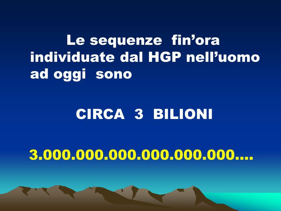 Le sequenze finora individuate dal HGP nelluomo ad oggi sono CIRCA 3 BILIONI 3.000.000.000.000.000.000….