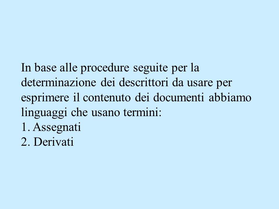 In base alle procedure seguite per la determinazione dei descrittori da usare per esprimere il contenuto dei documenti abbiamo linguaggi che usano termini: 1.