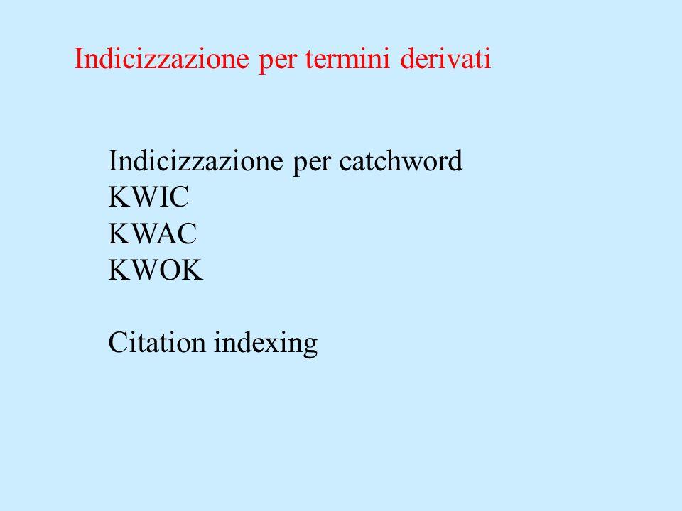 Indicizzazione per termini derivati Indicizzazione per catchword KWIC KWAC KWOK Citation indexing