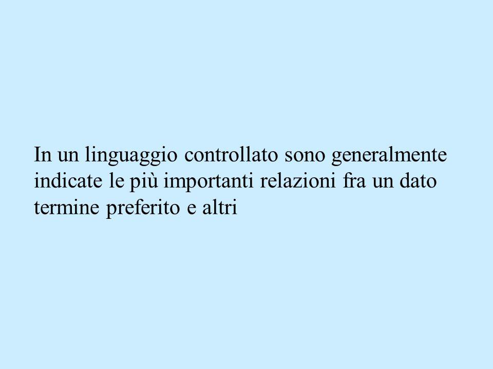In un linguaggio controllato sono generalmente indicate le più importanti relazioni fra un dato termine preferito e altri