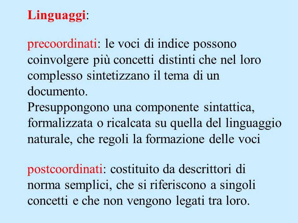 Linguaggi: precoordinati: le voci di indice possono coinvolgere più concetti distinti che nel loro complesso sintetizzano il tema di un documento. Pre