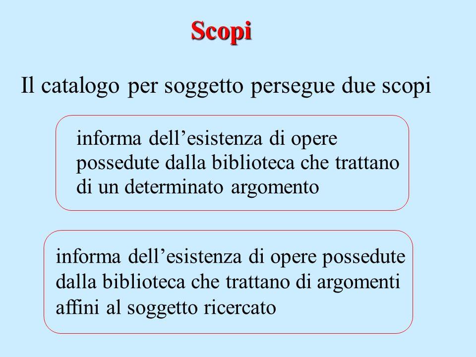 Scopi informa dellesistenza di opere possedute dalla biblioteca che trattano di un determinato argomento informa dellesistenza di opere possedute dall