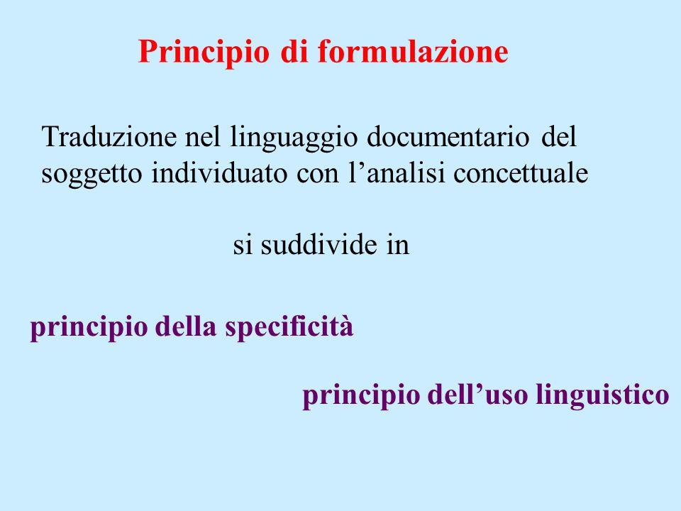 Traduzione nel linguaggio documentario del soggetto individuato con lanalisi concettuale Principio di formulazione si suddivide in principio della specificità principio delluso linguistico