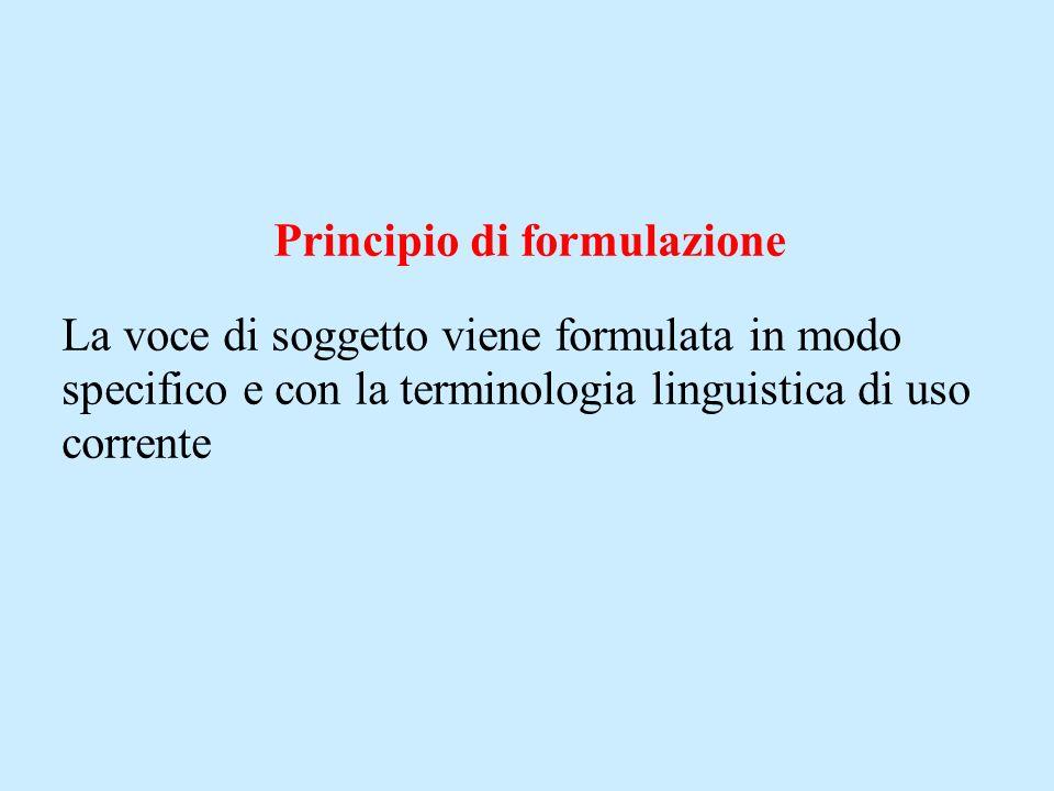 Principio di formulazione La voce di soggetto viene formulata in modo specifico e con la terminologia linguistica di uso corrente