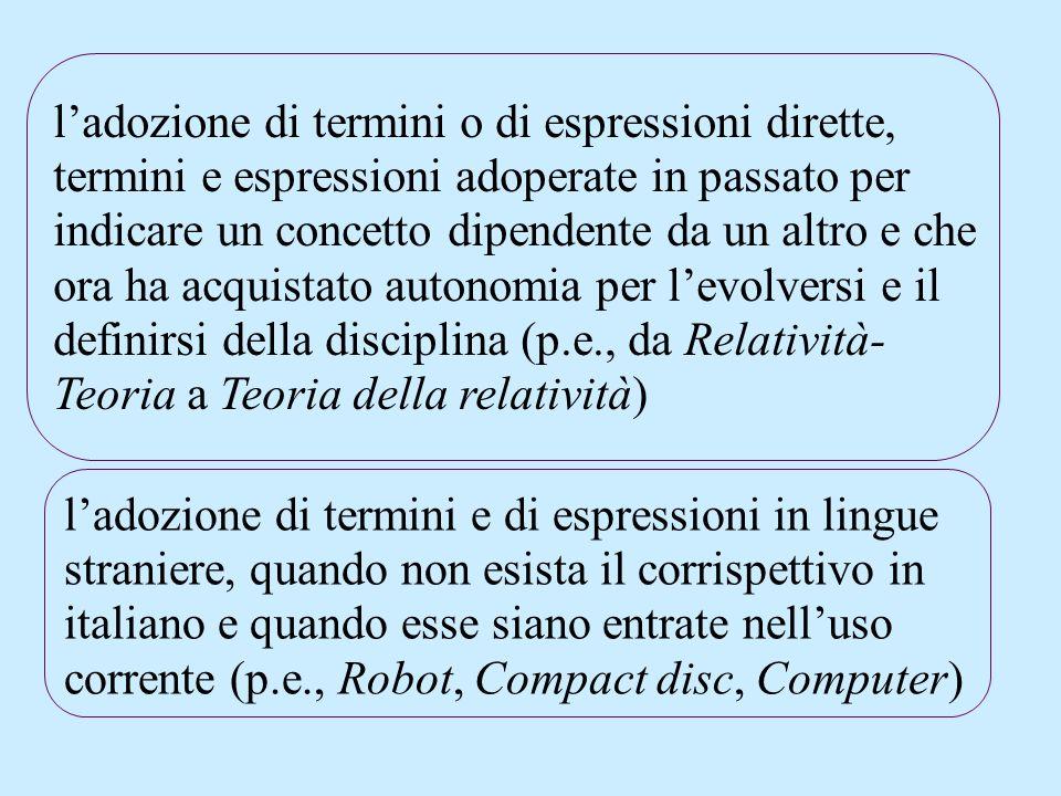 ladozione di termini o di espressioni dirette, termini e espressioni adoperate in passato per indicare un concetto dipendente da un altro e che ora ha