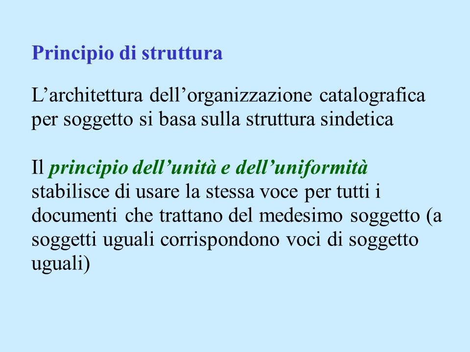 Principio di struttura Larchitettura dellorganizzazione catalografica per soggetto si basa sulla struttura sindetica Il principio dellunità e dellunif