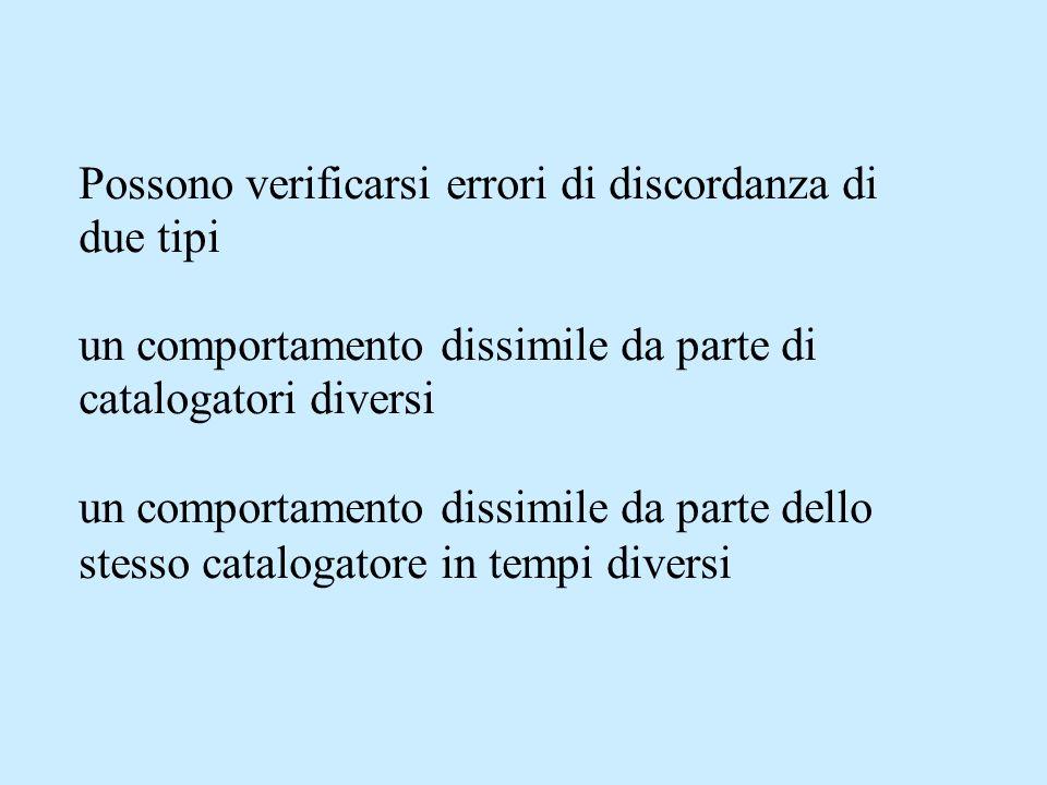 Possono verificarsi errori di discordanza di due tipi un comportamento dissimile da parte di catalogatori diversi un comportamento dissimile da parte dello stesso catalogatore in tempi diversi