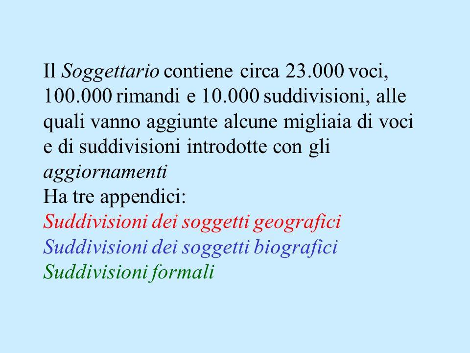 Il Soggettario contiene circa 23.000 voci, 100.000 rimandi e 10.000 suddivisioni, alle quali vanno aggiunte alcune migliaia di voci e di suddivisioni introdotte con gli aggiornamenti Ha tre appendici: Suddivisioni dei soggetti geografici Suddivisioni dei soggetti biografici Suddivisioni formali