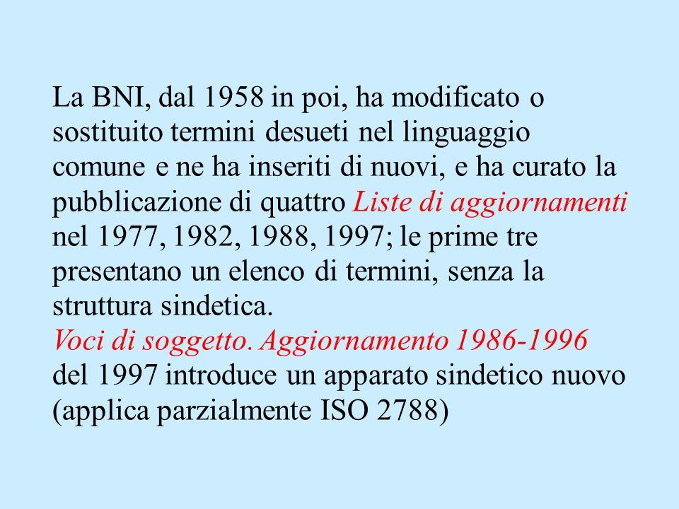 La BNI, dal 1958 in poi, ha modificato o sostituito termini desueti nel linguaggio comune e ne ha inseriti di nuovi, e ha curato la pubblicazione di quattro Liste di aggiornamenti nel 1977, 1982, 1988, 1997; le prime tre presentano un elenco di termini, senza la struttura sindetica.