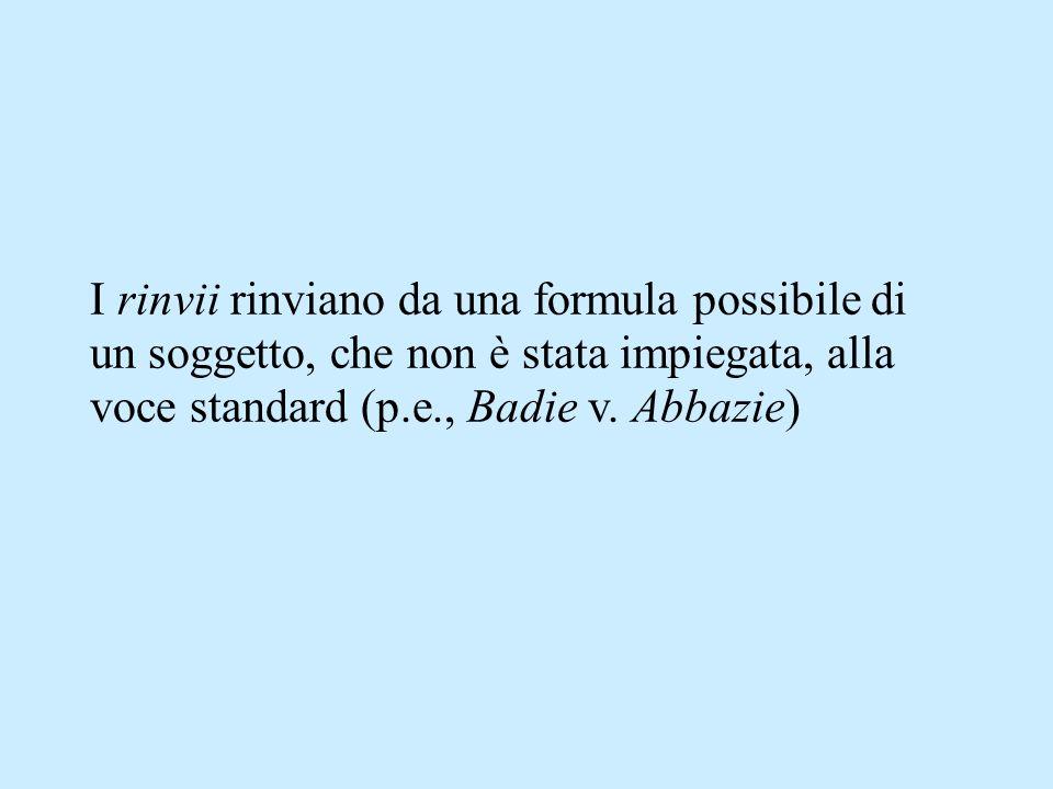 I rinvii rinviano da una formula possibile di un soggetto, che non è stata impiegata, alla voce standard (p.e., Badie v.