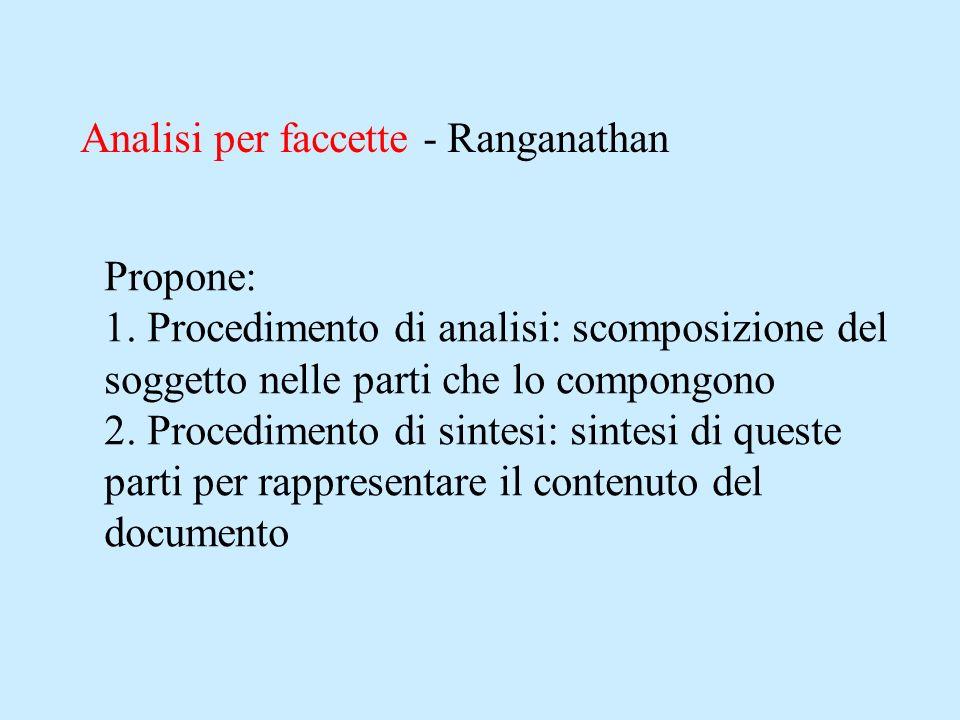 Analisi per faccette - Ranganathan Propone: 1. Procedimento di analisi: scomposizione del soggetto nelle parti che lo compongono 2. Procedimento di si