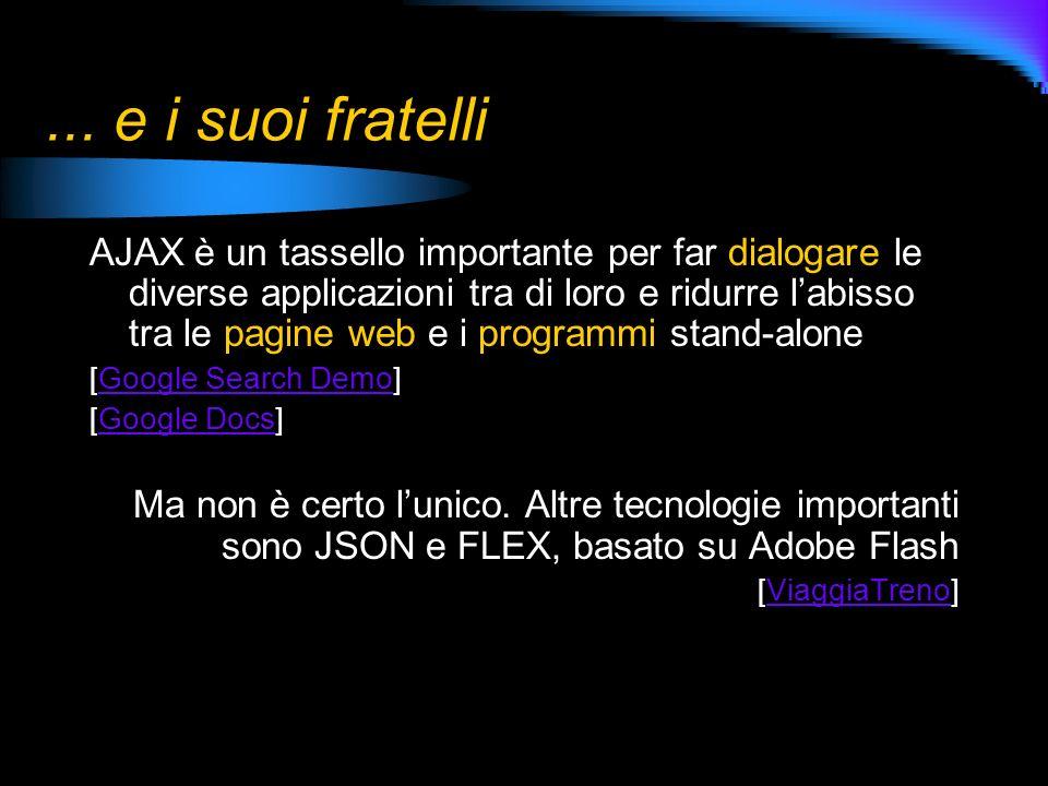 ... e i suoi fratelli AJAX è un tassello importante per far dialogare le diverse applicazioni tra di loro e ridurre labisso tra le pagine web e i prog
