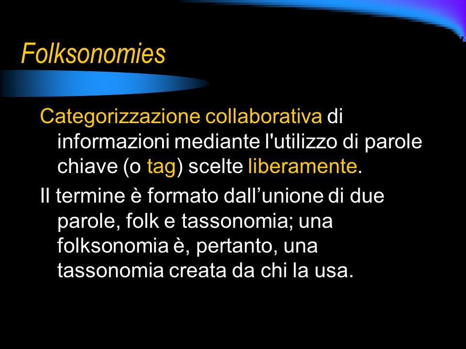Folksonomies Categorizzazione collaborativa di informazioni mediante l utilizzo di parole chiave (o tag) scelte liberamente.