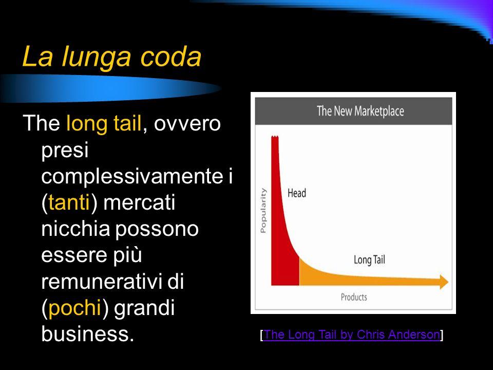 La lunga coda The long tail, ovvero presi complessivamente i (tanti) mercati nicchia possono essere più remunerativi di (pochi) grandi business. [The