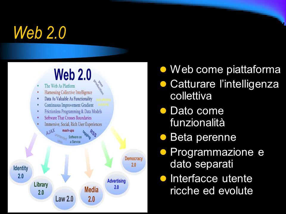 Web 2.0 Web come piattaforma Catturare lintelligenza collettiva Dato come funzionalità Beta perenne Programmazione e dato separati Interfacce utente r