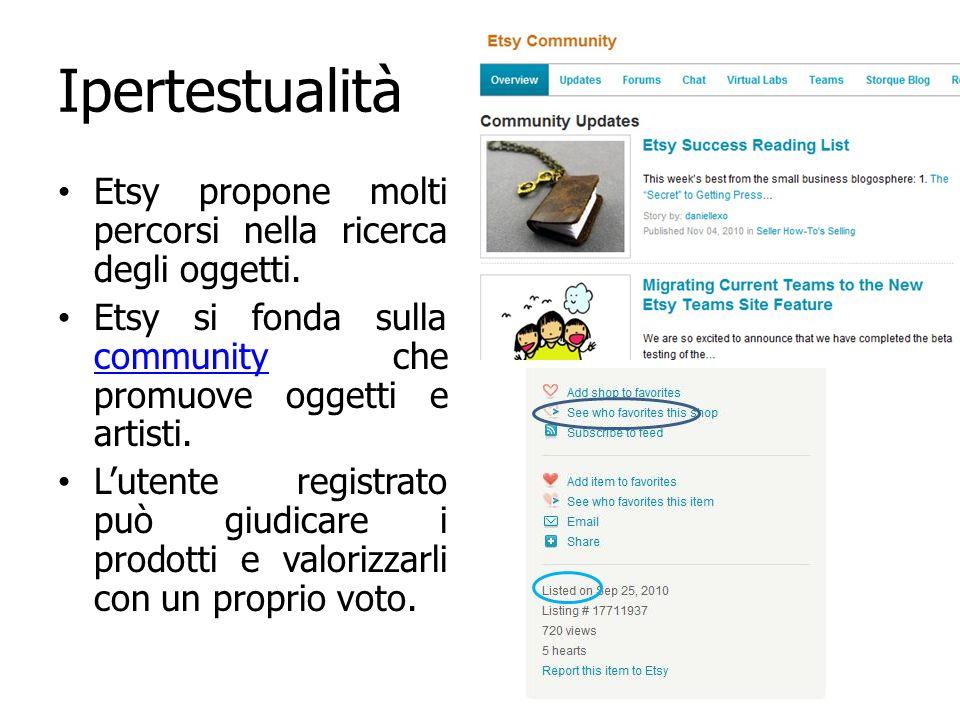 Ipertestualità Etsy propone molti percorsi nella ricerca degli oggetti. Etsy si fonda sulla community che promuove oggetti e artisti. community Lutent
