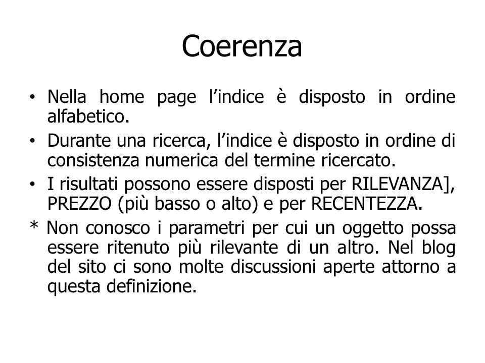 Coerenza Nella home page lindice è disposto in ordine alfabetico.