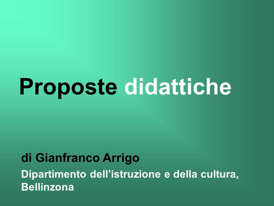 di Gianfranco Arrigo Dipartimento dellistruzione e della cultura, Bellinzona Proposte didattiche