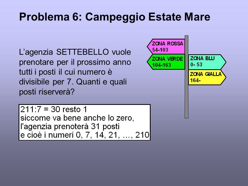 Problema 6: Campeggio Estate Mare Lagenzia SETTEBELLO vuole prenotare per il prossimo anno tutti i posti il cui numero è divisibile per 7. Quanti e qu