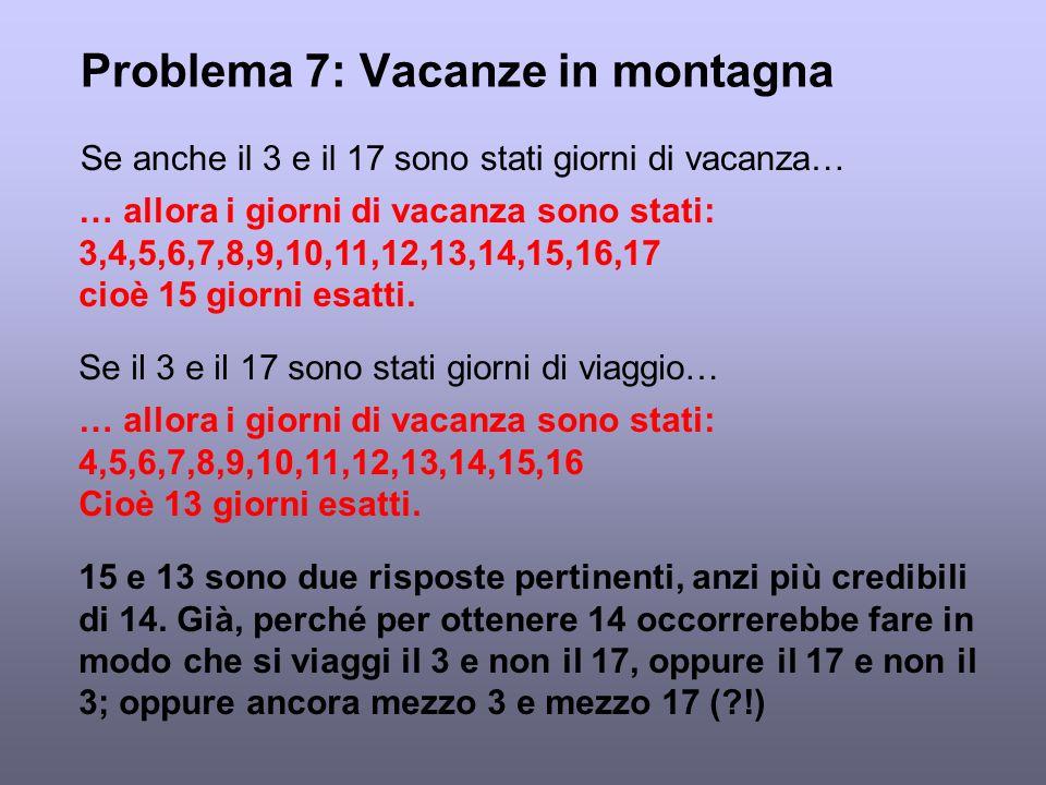 Problema 7: Vacanze in montagna Se anche il 3 e il 17 sono stati giorni di vacanza… … allora i giorni di vacanza sono stati: 3,4,5,6,7,8,9,10,11,12,13