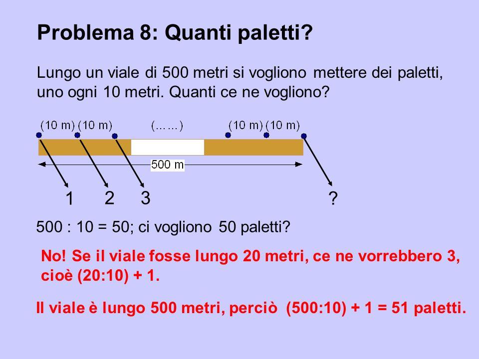 Problema 8: Quanti paletti? Lungo un viale di 500 metri si vogliono mettere dei paletti, uno ogni 10 metri. Quanti ce ne vogliono? No! Se il viale fos