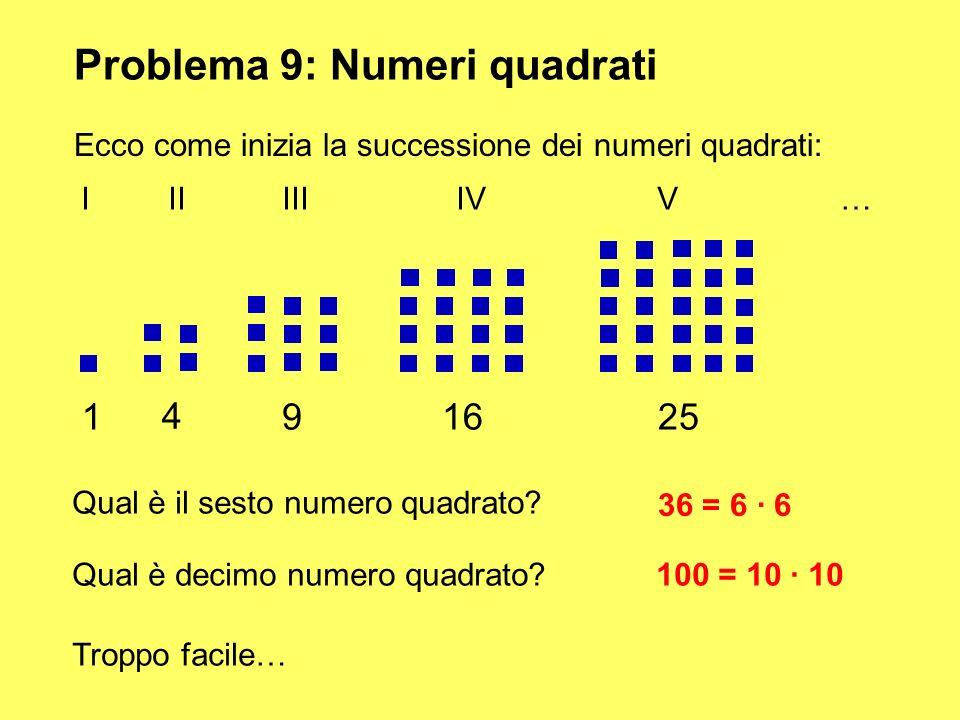 Problema 9: Numeri quadrati Ecco come inizia la successione dei numeri quadrati: 1 4 91625 III IIIIV V… Qual è il sesto numero quadrato? 36 = 6 · 6 Qu