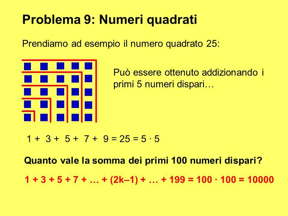 Problema 9: Numeri quadrati Prendiamo ad esempio il numero quadrato 25: Può essere ottenuto addizionando i primi 5 numeri dispari… 1 +3 + 5 + 7 + 9 =
