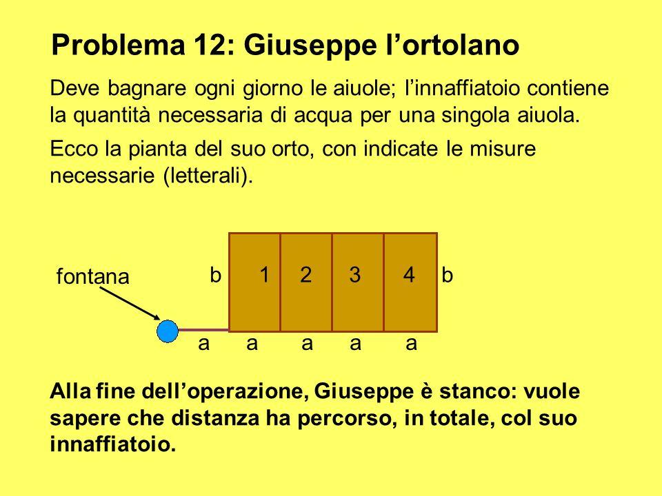 Problema 12: Giuseppe lortolano Deve bagnare ogni giorno le aiuole; linnaffiatoio contiene la quantità necessaria di acqua per una singola aiuola. Ecc