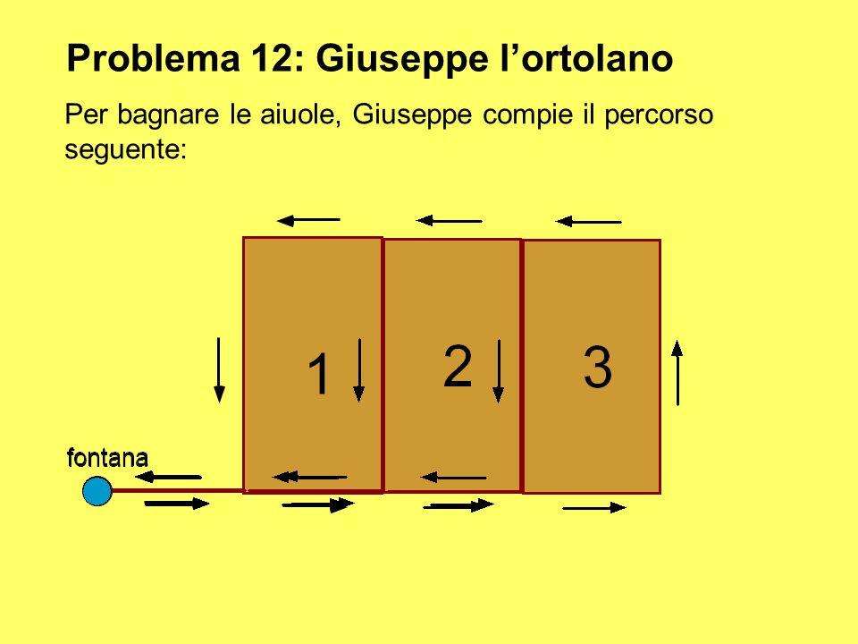 Problema 12: Giuseppe lortolano Per bagnare le aiuole, Giuseppe compie il percorso seguente: fontana 1