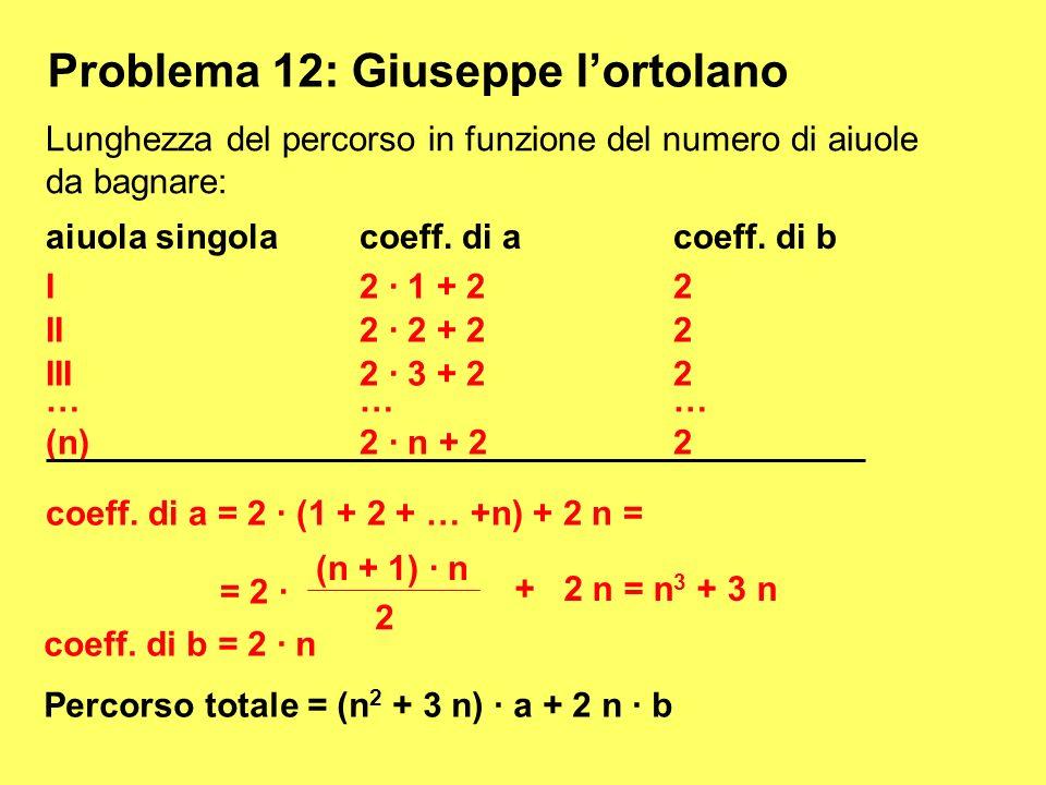 Problema 12: Giuseppe lortolano Lunghezza del percorso in funzione del numero di aiuole da bagnare: aiuola singolacoeff. di acoeff. di b III2 · 3 + 22