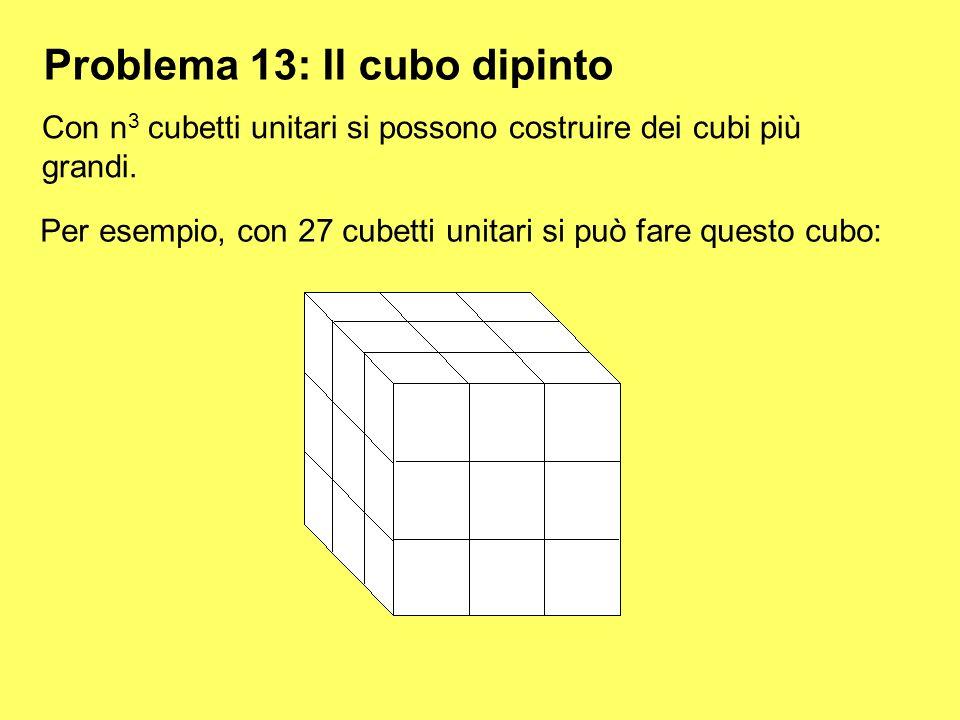 Problema 13: Il cubo dipinto Con n3 n3 cubetti unitari si possono costruire dei cubi più grandi. Per esempio, con 27 cubetti unitari si può fare quest