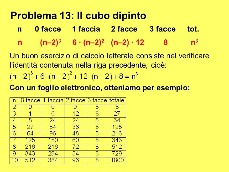 Problema 13: Il cubo dipinto n(n–2) 3 6 · (n–2) 2 (n–2) · 12 8 n 3 n0 facce1 faccia2 facce3 tot. Un buon esercizio di calcolo letterale consiste nel v